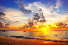 Sunset beach. Paradise scene of Caribbean island stock images