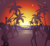Sunset beach party illustration. Illustration of dancers on the beach at sunset enjoying a party Stock Photos