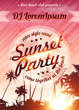 Sunset beach party vector pink poster template Stock Images