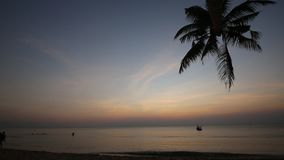 Sunset on beach at Phu Quoc island, Kien Giang province, Vietnam. Beach at dusk,  Phu Quoc island, Kien Giang province, Vietnam. Phu Quoc is blessed with stock video