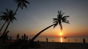 Sunset on beach at Phu Quoc island, Kien Giang province, Vietnam. Beach scenic in the evening, Phu Quoc island, Kien Giang province, Vietnam. Phu Quoc is blessed stock video footage