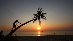 Sunset on beach at Phu Quoc island, Kien Giang province, Vietnam stock footage
