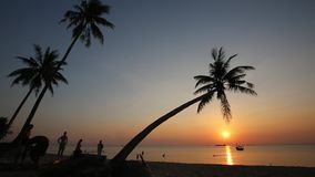 Sunset on beach at Phu Quoc island, Kien Giang province, Vietnam. View of the beach at sunset,  Phu Quoc island, Kien Giang province, Vietnam. Phu Quoc is stock footage