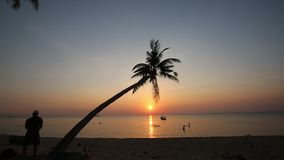 Sunset on beach at Phu Quoc island, Kien Giang province, Vietnam. View of beach at sunset,  Phu Quoc island, Kien Giang province, Vietnam. Phu Quoc is blessed stock video