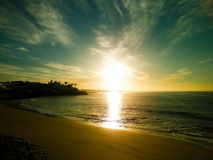 Sunset and beach in Playa Blanca, Lanzarote, Canarian Islands. Beautiful nature background of sunset over beach in Playa Blanca, Lanzarote, Canarian Islands stock photos