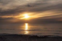 Sunset on the beach, polish sea baltic.  royalty free stock photography