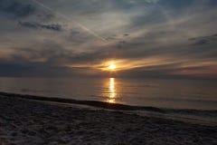 Sunset on the beach, polish sea baltic.  royalty free stock photos