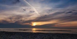 Sunset on the beach, polish sea baltic.  royalty free stock image
