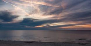 Sunset on the beach, polish sea baltic.  royalty free stock photo