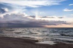 Sunset on the beach, polish sea baltic.  stock images