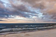 Sunset on the beach, polish sea baltic.  stock photos