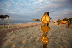 Sunset on the beach of Punta Sal with empty campsite, Peru Stock Images