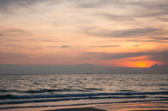 Sunset at beach. Rayong, Thailand Royalty Free Stock Photography