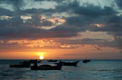 Sunset beach. Relaxing sunset in a caribbean beach Stock Photography