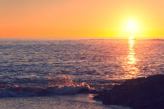 Sunset Beach Retro Style Stock Photos