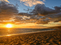 Sunset on the beach. At the Reunion island stock images