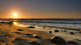 Sunset on the beach in Rozewie. On the Baltic Sea stock footage