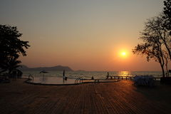 Sunset on the beach at Sattahip in Thailand Royalty Free Stock Photography