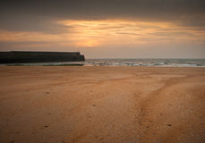 Sunset on a beach in Scotland Royalty Free Stock Photography