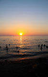 Sunset on the beach. Sea Royalty Free Stock Images