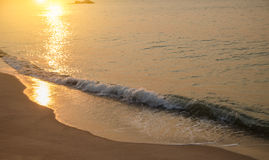 Sunset on the beach with the sea Stock Photography