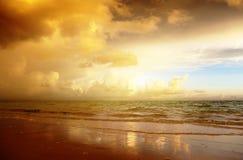 Sunset on the beach of sea Stock Image