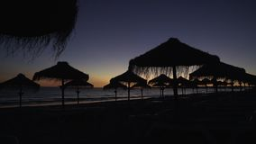 Sunset on the beach with silhouettes of the straw umbrellas against the sky. Sunset on the beach with silhouettes of straw umbrellas against the sky stock video footage
