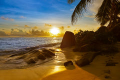 Sunset on beach Source D'Argent at Seychelles Stock Images