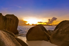 Sunset on beach Source D'Argent at Seychelles Royalty Free Stock Image