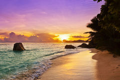 Sunset on beach Source D'Argent at Seychelles Royalty Free Stock Photography