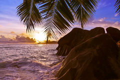 Sunset on beach Source D'Argent at Seychelles Royalty Free Stock Images
