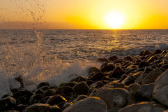 Sunset on the beach on the south of Tenerife Royalty Free Stock Images