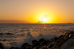 Sunset on the beach on the south of Tenerife Royalty Free Stock Photos