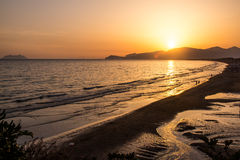 Sunset on the beach of Sperlonga, Italy Stock Image