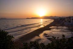 Sunset on the beach of Sperlonga, Italy Royalty Free Stock Photo