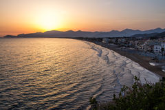 Sunset on the beach of Sperlonga, Italy Stock Images