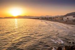 Sunset on the beach of Sperlonga, Italy Royalty Free Stock Images