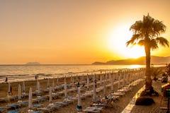 Sunset on the beach of Sperlonga, Italy Stock Photography