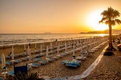 Sunset on the beach of Sperlonga, Italy Royalty Free Stock Image