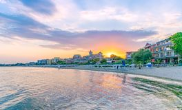 Sunset at the beach in Sunny Beach on the Black Sea coast of Bulgaria. Bulgarian clouds coastline dawn day horizontal morning no people nobody outdoor outside royalty free stock image