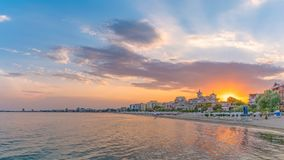 Sunset at the beach in Sunny Beach on the Black Sea coast of Bulgaria. Panoramic view. Bulgarian clouds coastline dawn day horizontal morning people nobody royalty free stock image
