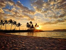 Sunset in beach royalty free stock photography