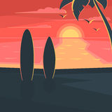 Sunset on the beach with surf. And palm tree. Sea landscape. Seagulls in the sky at sunset. Vector illustration design for web banner, print promotional Stock Images