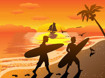 Sunset beach surfers illustraion Royalty Free Stock Images