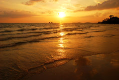 Sunset at the beach. Of Thailand royalty free stock image