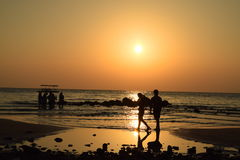 Sunset. At the beach in Thailand Royalty Free Stock Images