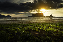Sunset at beach, Thailand Royalty Free Stock Images