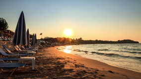 Sunset beach Timelapse. Beautiful full HD timelapse video of a summer sunset on the beach on the island of Zakynthos, Greece stock footage