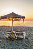Sunset on the beach in Torremolinos, Spain Royalty Free Stock Photos