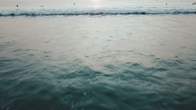 Sunset on the beach - Tranquil idyllic scene of a golden sunset over the sea, waves slowly splashing on the sand. Video. Sunset on the beach - Tranquil idyllic stock footage